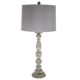 Brushed Gray Lamp With Gray Shade